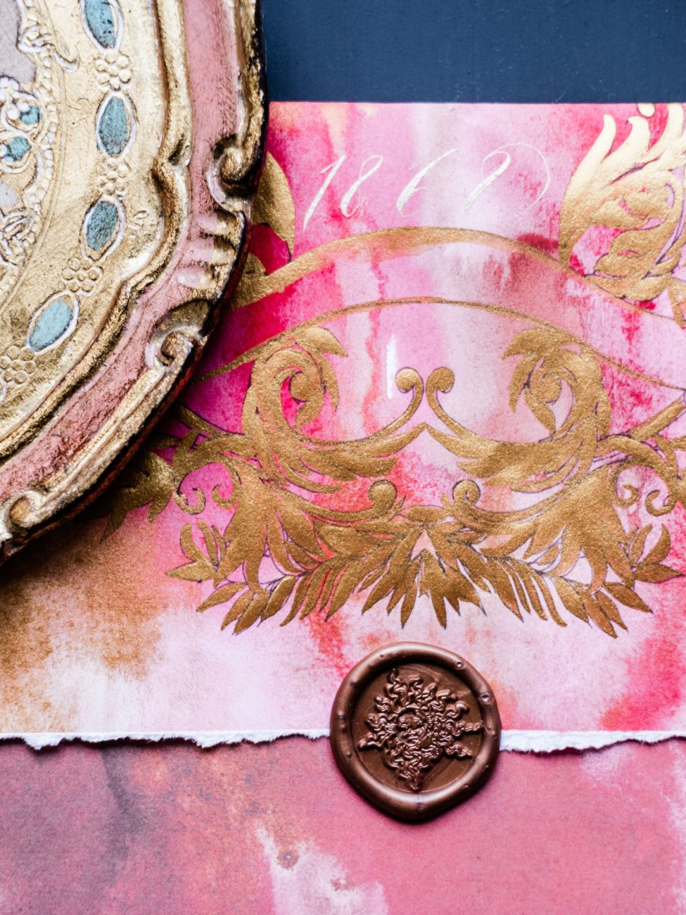 High end wedding stationery showing an envelope detail