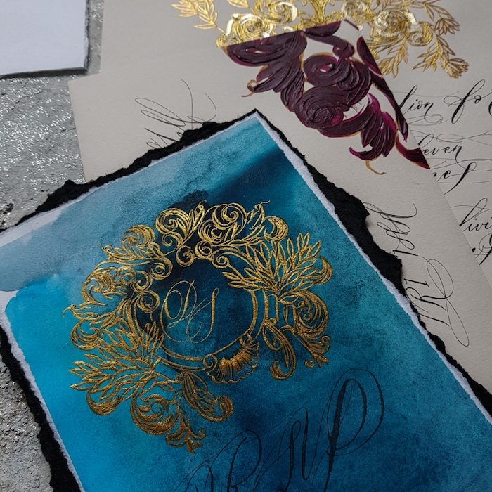 How to make your own wedding invitations blue wedding suite inspired by Portugal