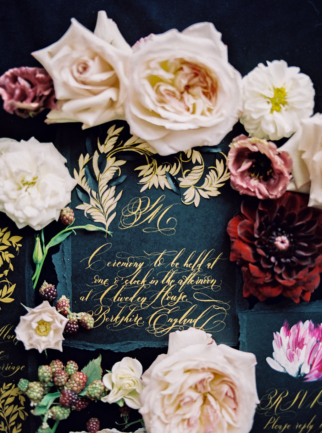 Moody French stationery for a small intimate high end wedding in Paris, the south of France or Lake Como in Italy