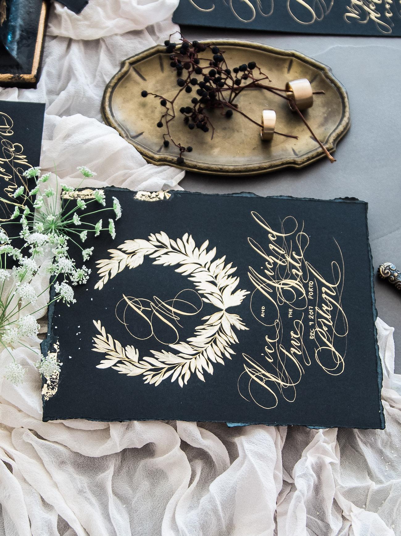 Moody wedding stationery