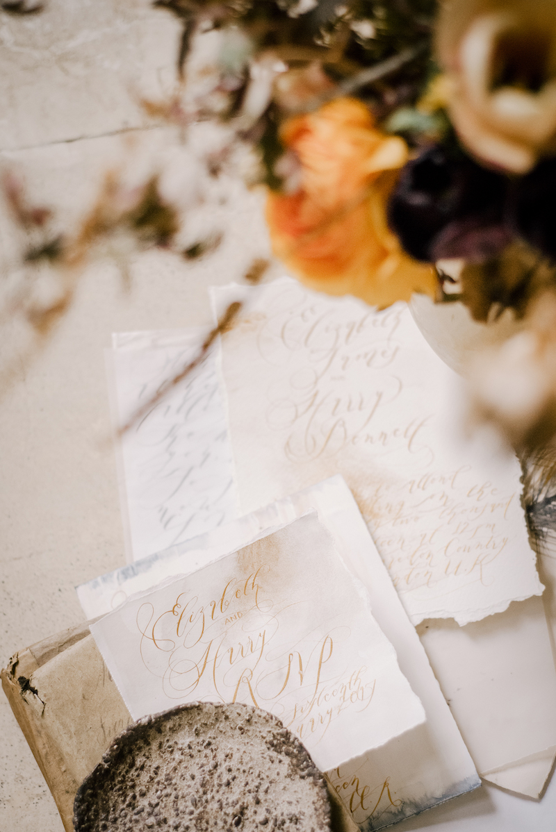 Neutral wedding stationery with gold calligraphy for a classical wedding in the English countryside of Yorkshire