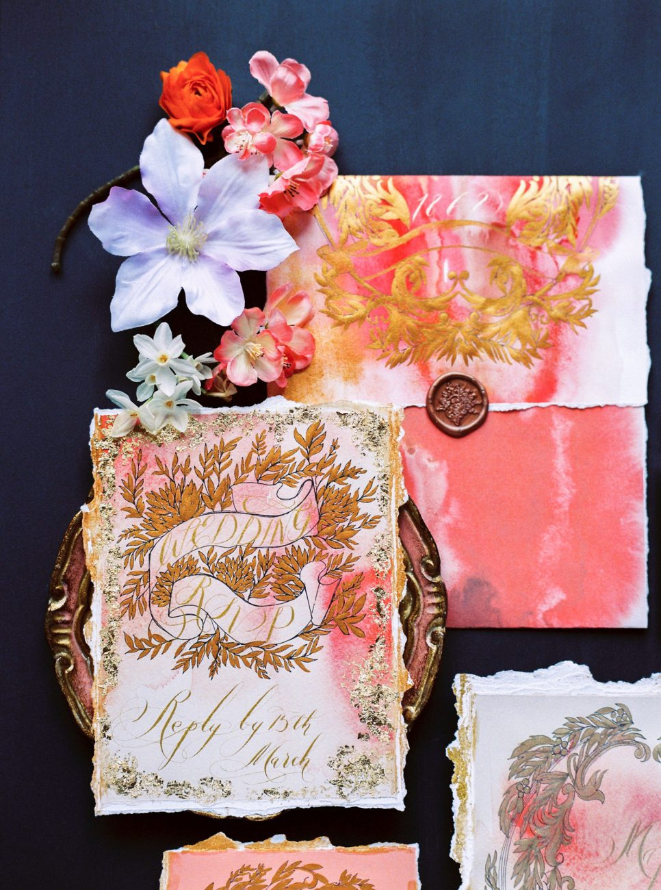 Pink and gold wedding invitation suite with a large rsvp card