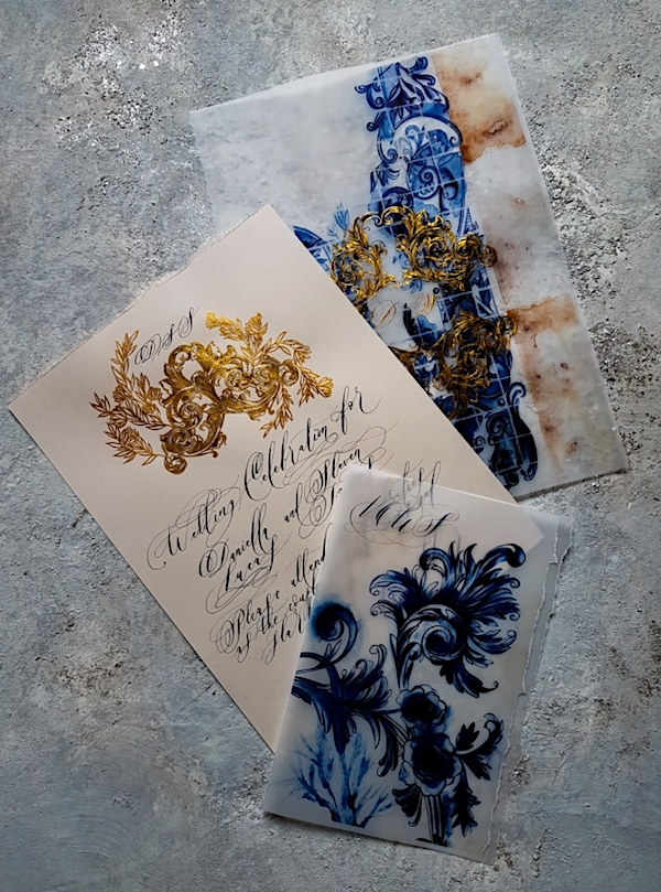 Portuguese style wedding invitations for high end, intimate destination weddings