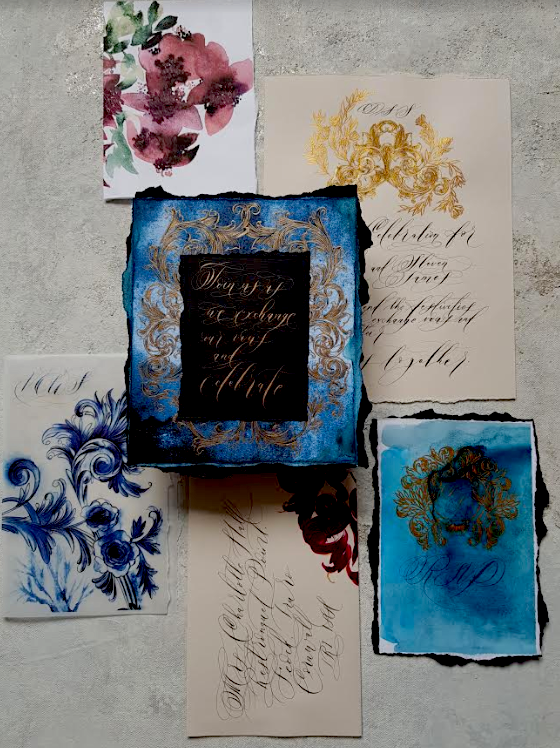 Romantic blue, beige and dark megenta wedding stationery suite inspired by Portugal