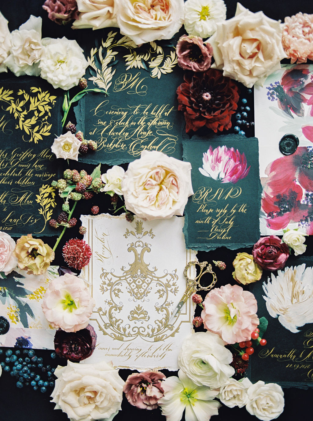 Striking and dramatic black and gold classical and moody wedding stationery for hihg end events and weddings in the south of France or Lake Como