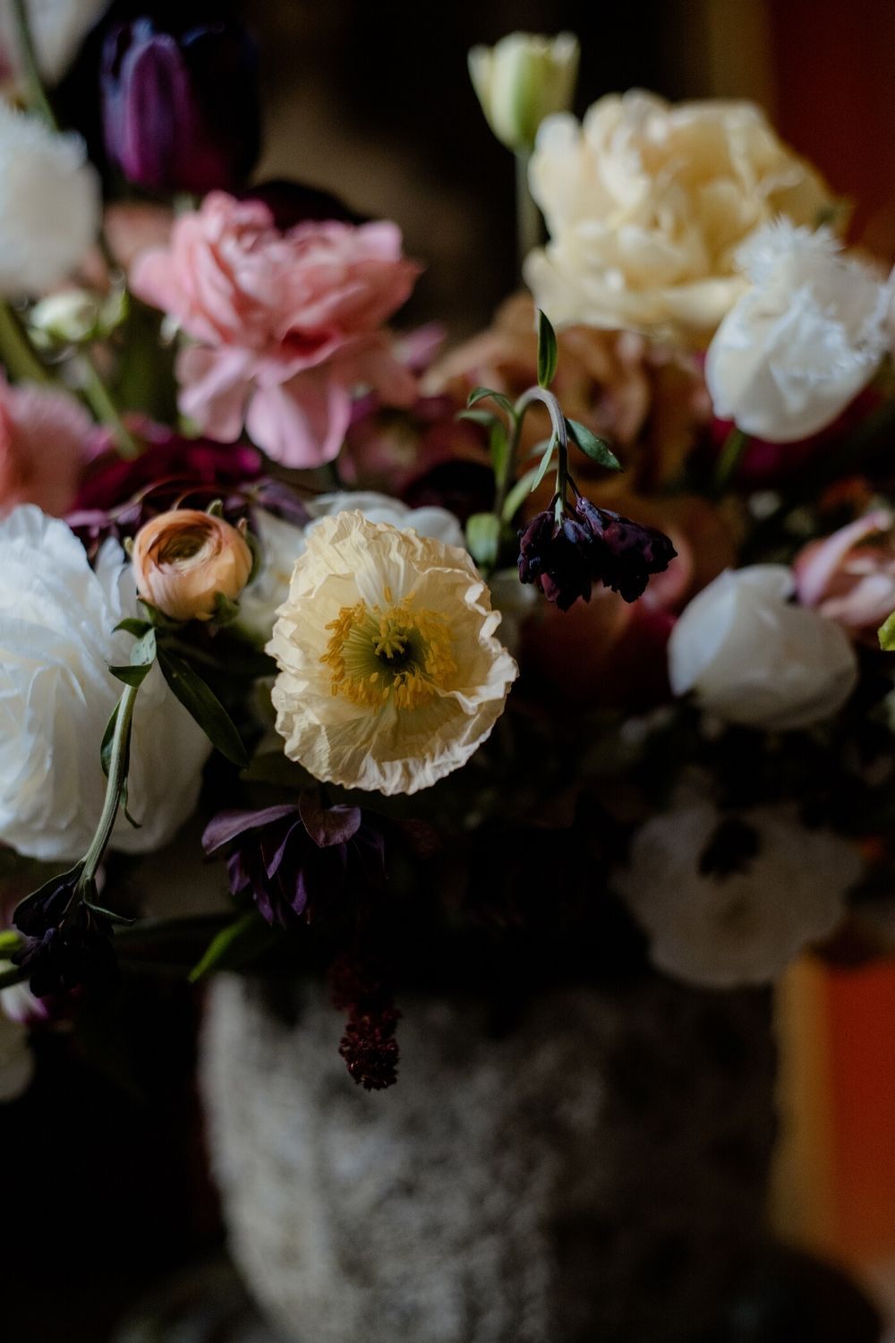 Butter yellow , pink and burgundy luxury flower arrangement for a country wedding