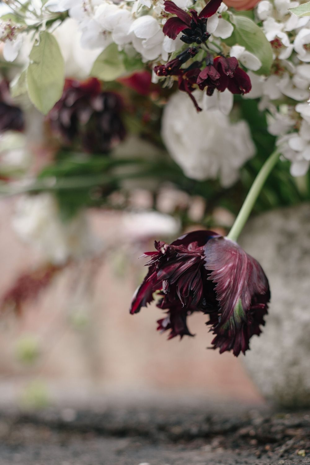 Dark and moody floral wedding inspiration burgundy tulips