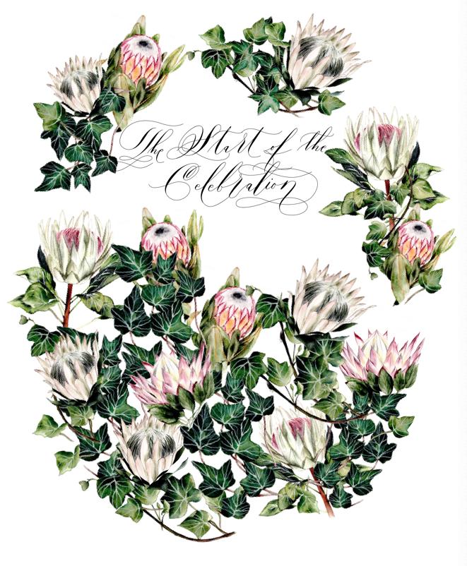 Protea wedding invitation final design