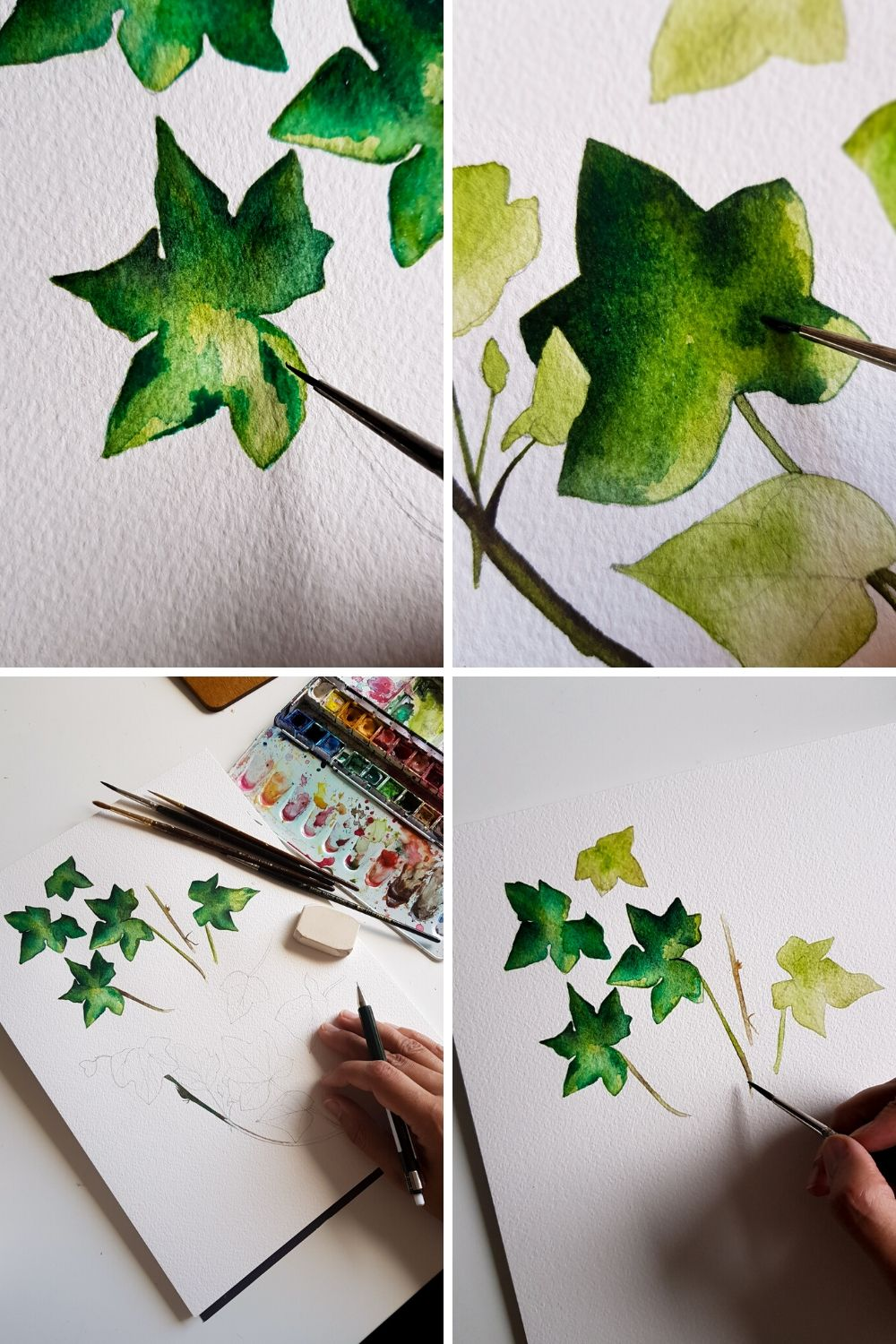 Watercolour of some green leaves for some wedding invitation artwork