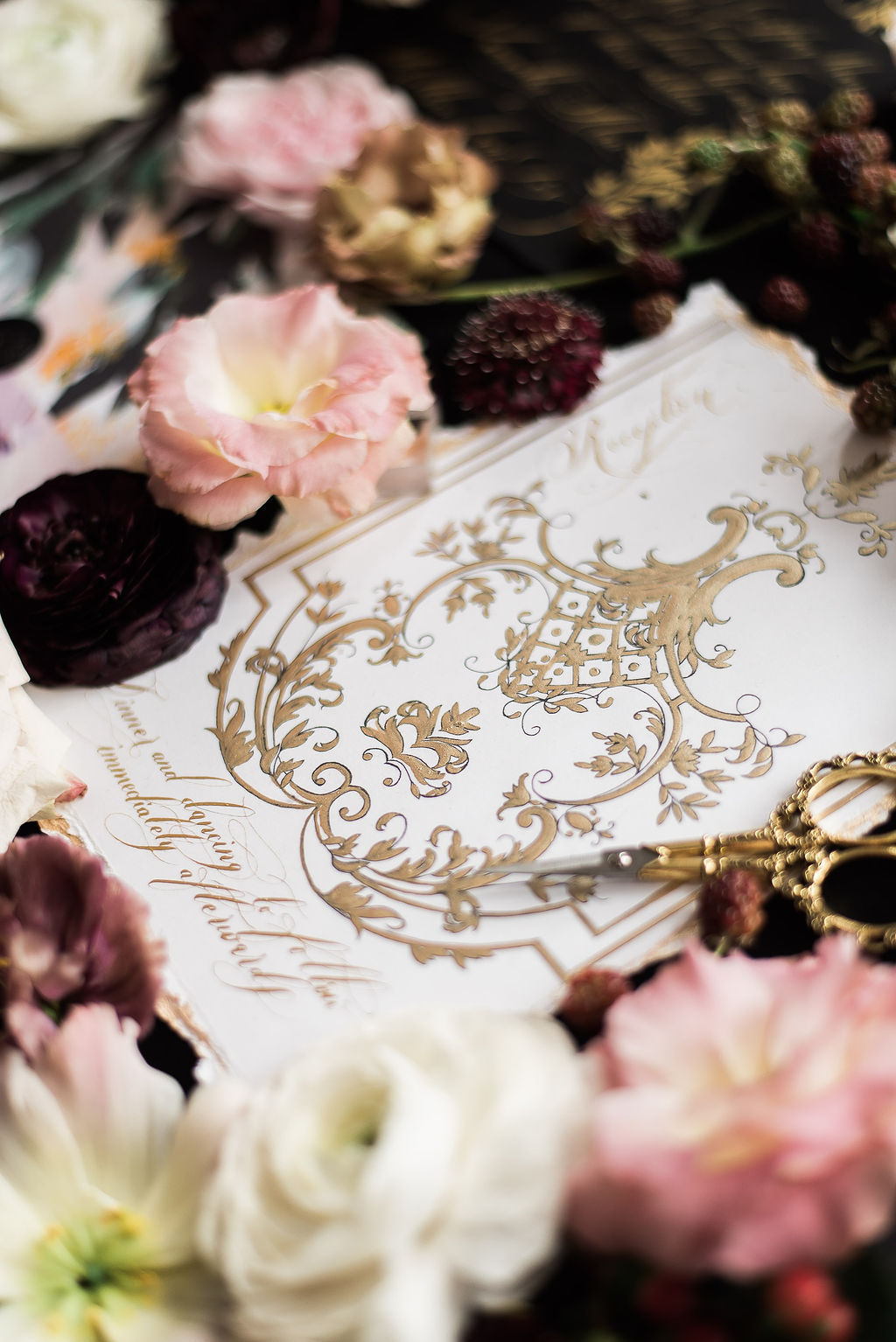 White and gold classical wedding reception card influenced by French architecture
