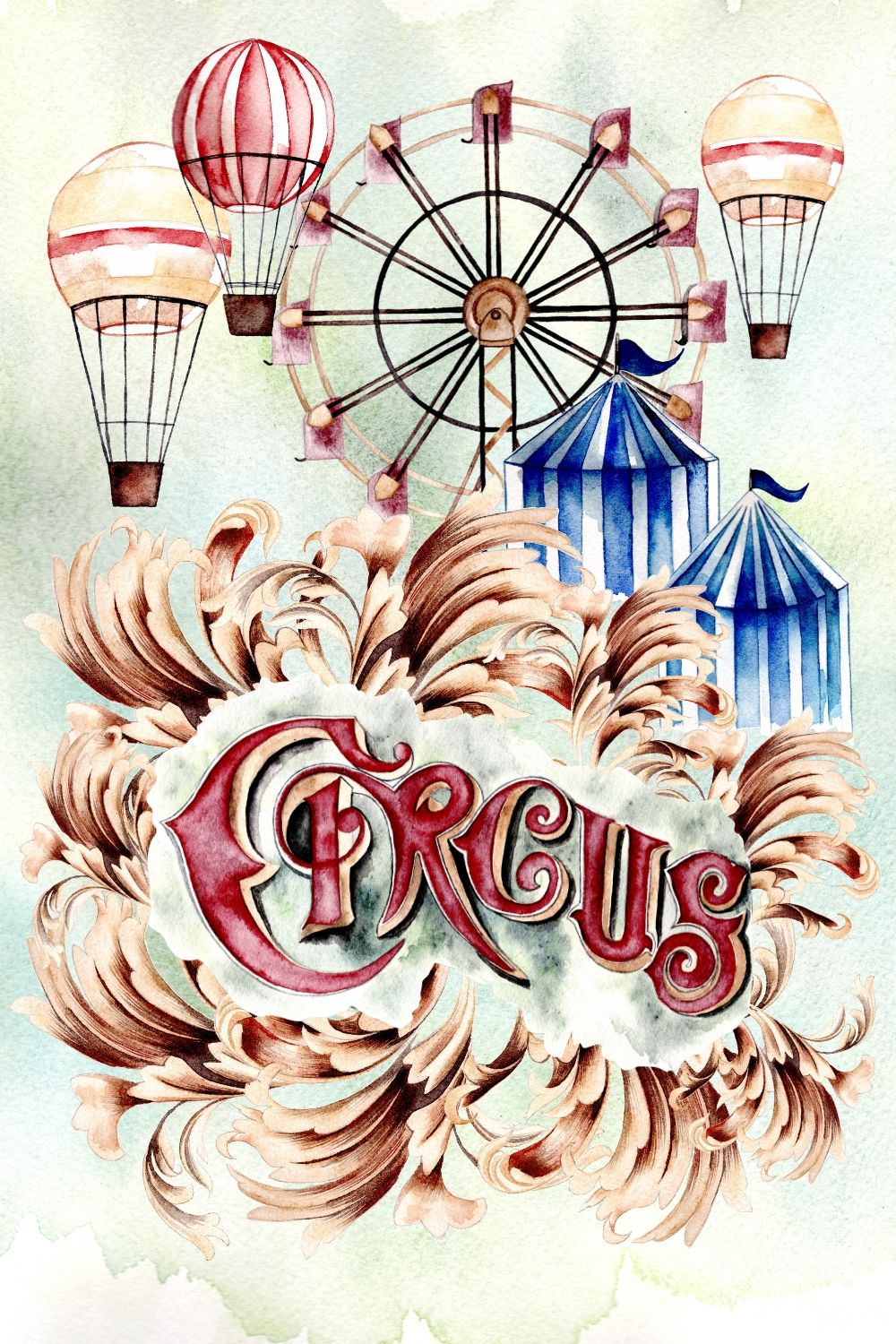 Circus custom invitation design with a ferris wheel and hot air balloons