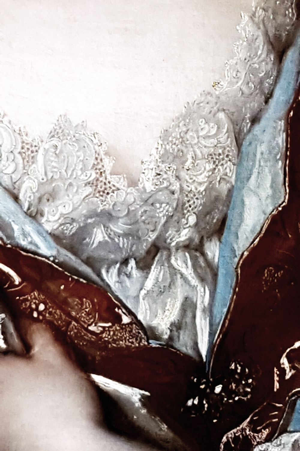 Classical oil painting of a women lace