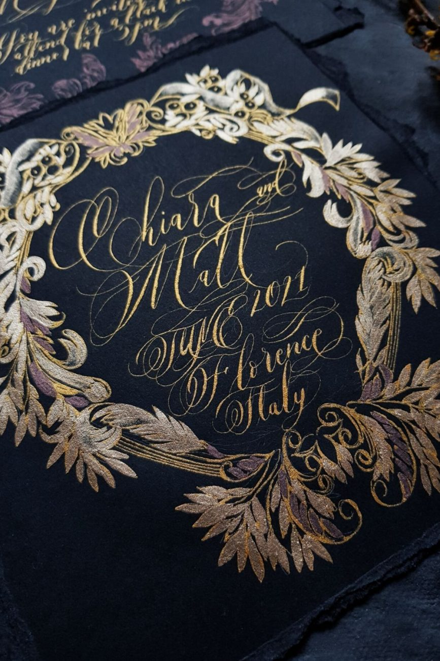 Florence wedding invitations featuring a large luxuriously hand painted crest design