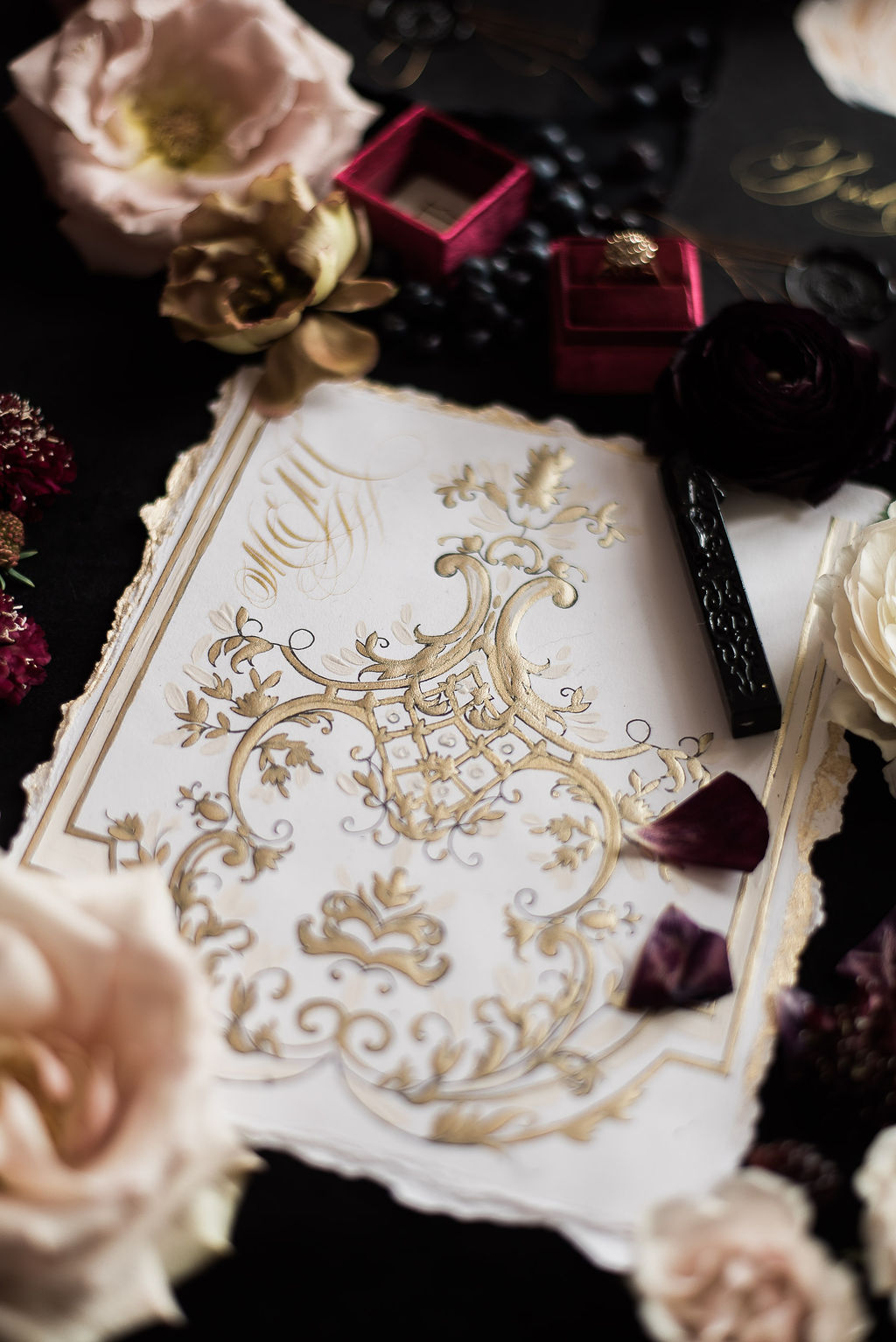White and gold French style wedding stationery design