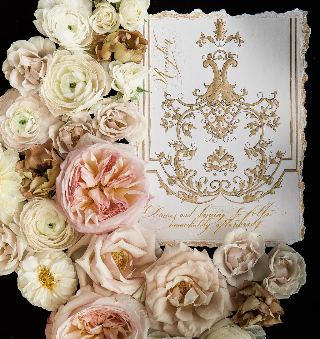 White wedding stationery with deep gold hand painted details for a fine art luxury destination wedding in France or Italy