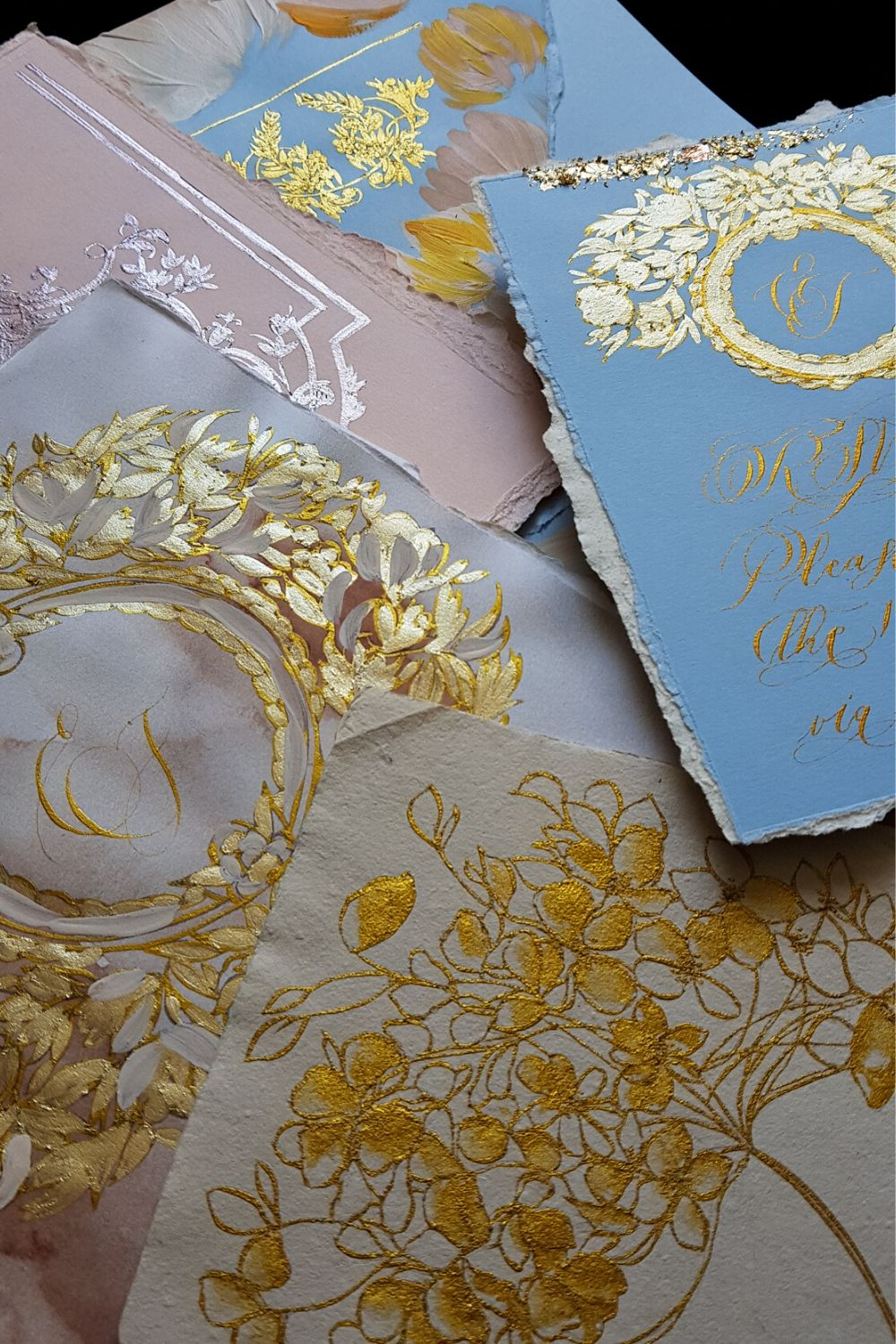 Elegant and romantic fine art luxury wedding stationery for high end destination weddings at Villa Cipressi