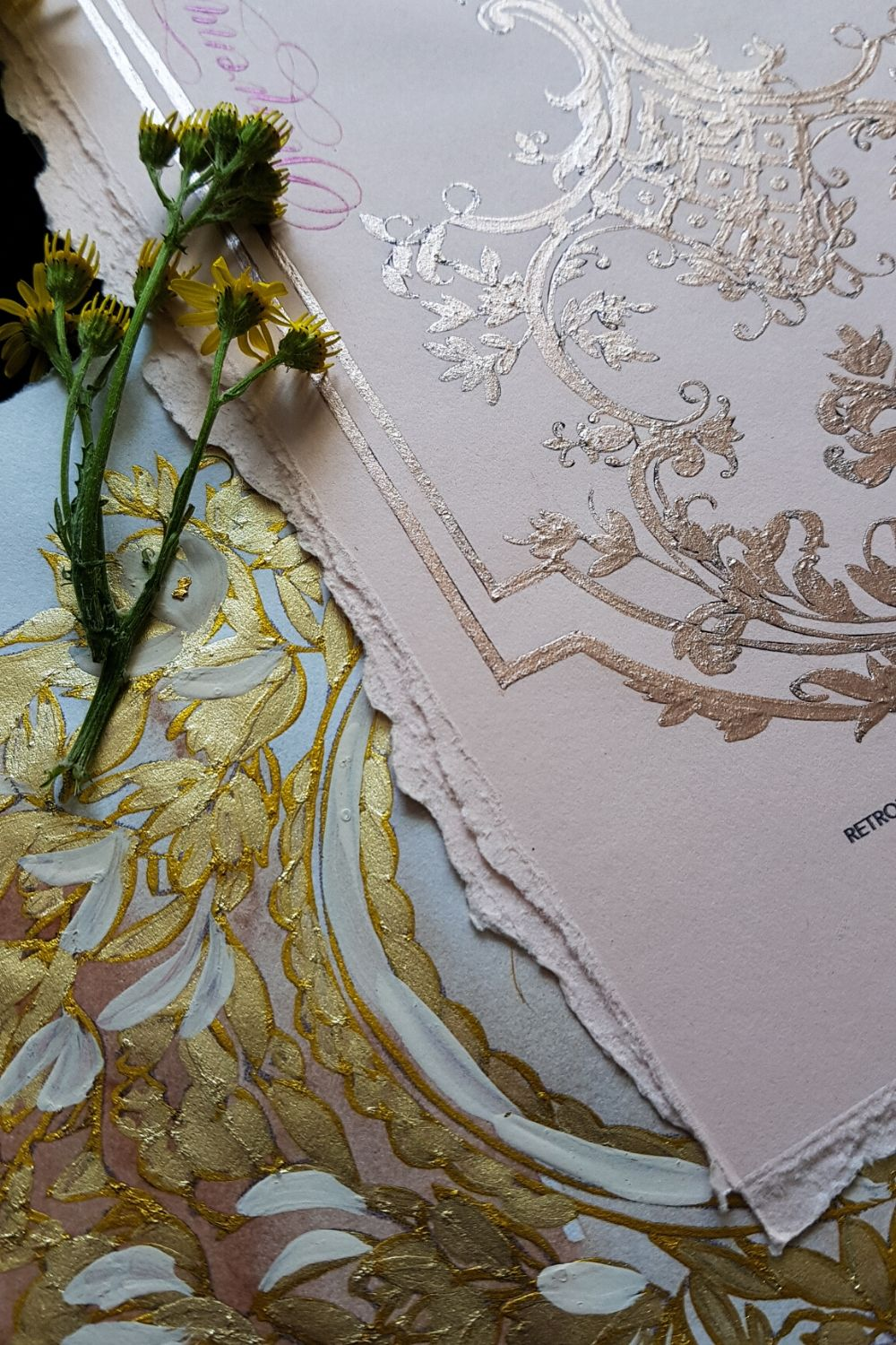 Italian wedding invitations with baby pink and deep blush with hand painted details
