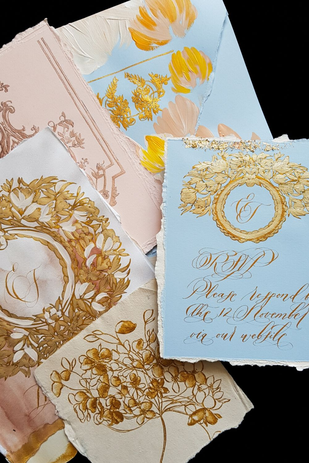 Pale blue rsvp card with blush and gold luxury wedding stationery
