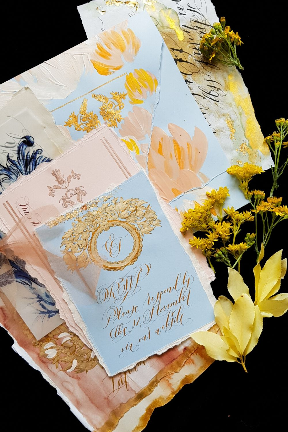 Romantic elegant blue blush and gold fine art wedding invitation suite for a destination wedding at Villa Cipressi