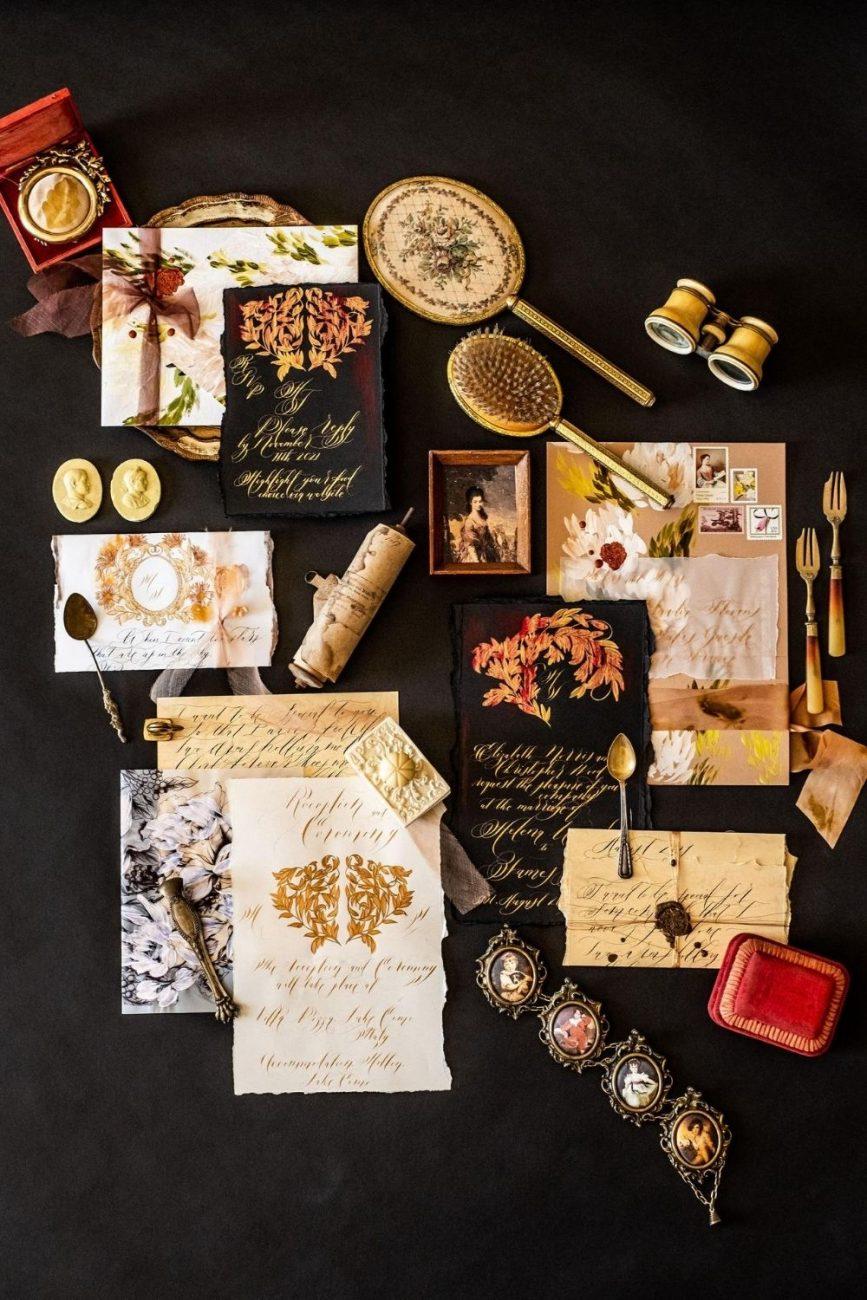 Black tie luxury hand made, fine art wedding stationery inspired by Venice