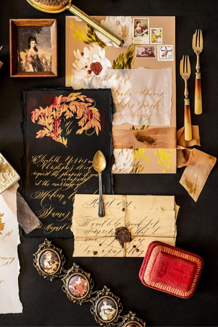 Black tie luxury hand made, wedding stationery with caramel, light brown, rich creme floral design