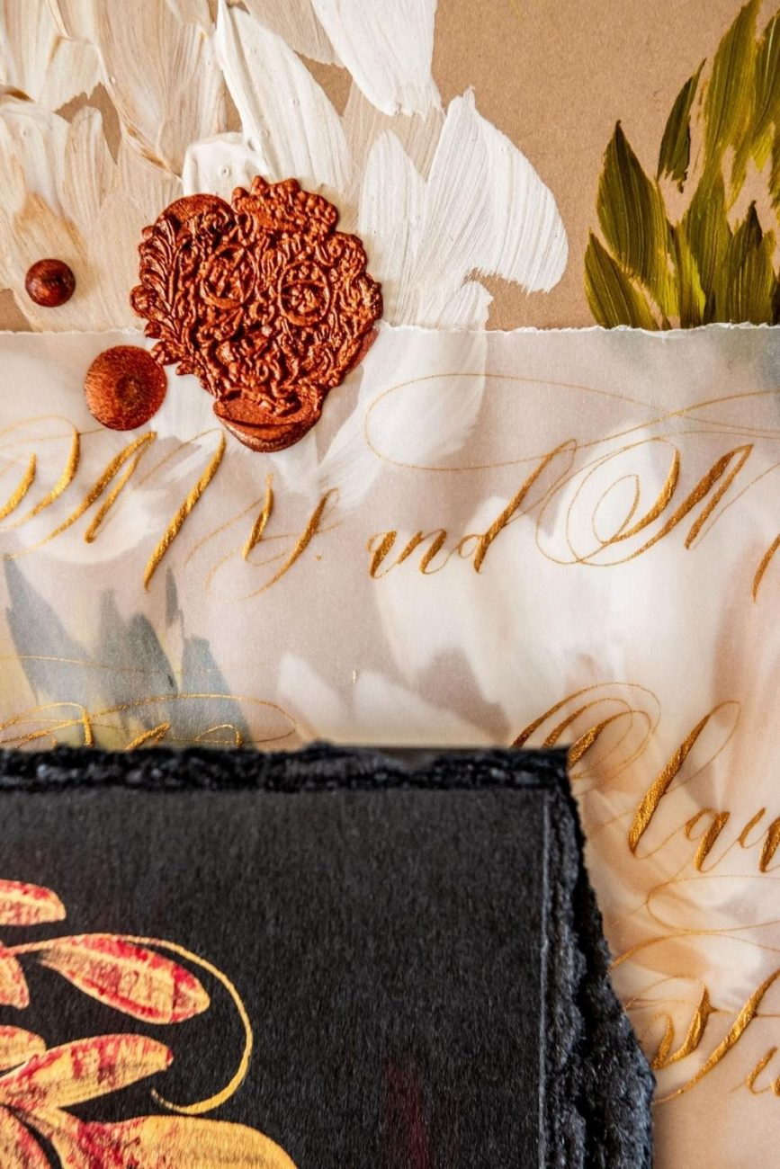 Classical and sumptuously hand painted, these high-end, luxurious wedding invitations are designed for a custom, high-end wedding in Venice