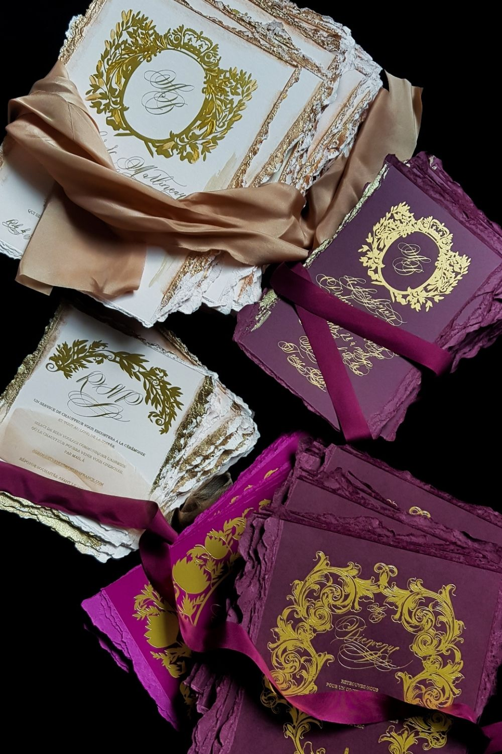 Cream, champagne, deep burgundy, claret, hot pink and gold foil design wedding stationery for a luxury wedding in Paris