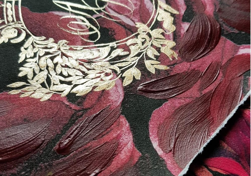 Deep red and burgundy rose hand painted wedding invitations with a gold crest