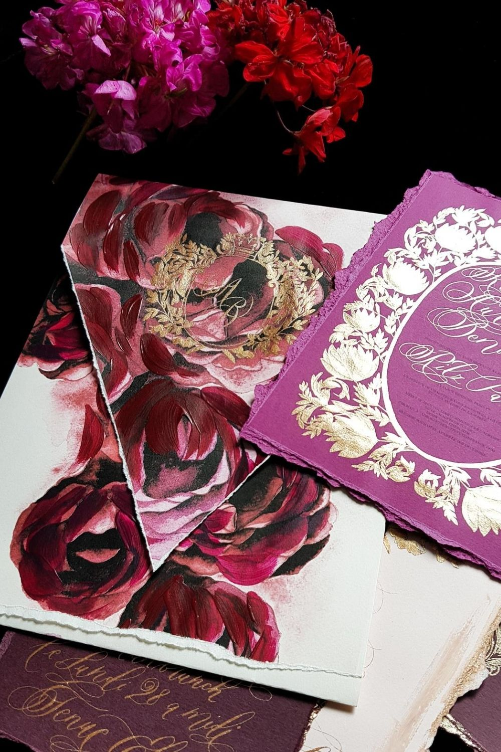 Fine art, high-end wedding invitations for a custom designed burgundy and red wedding in Paris