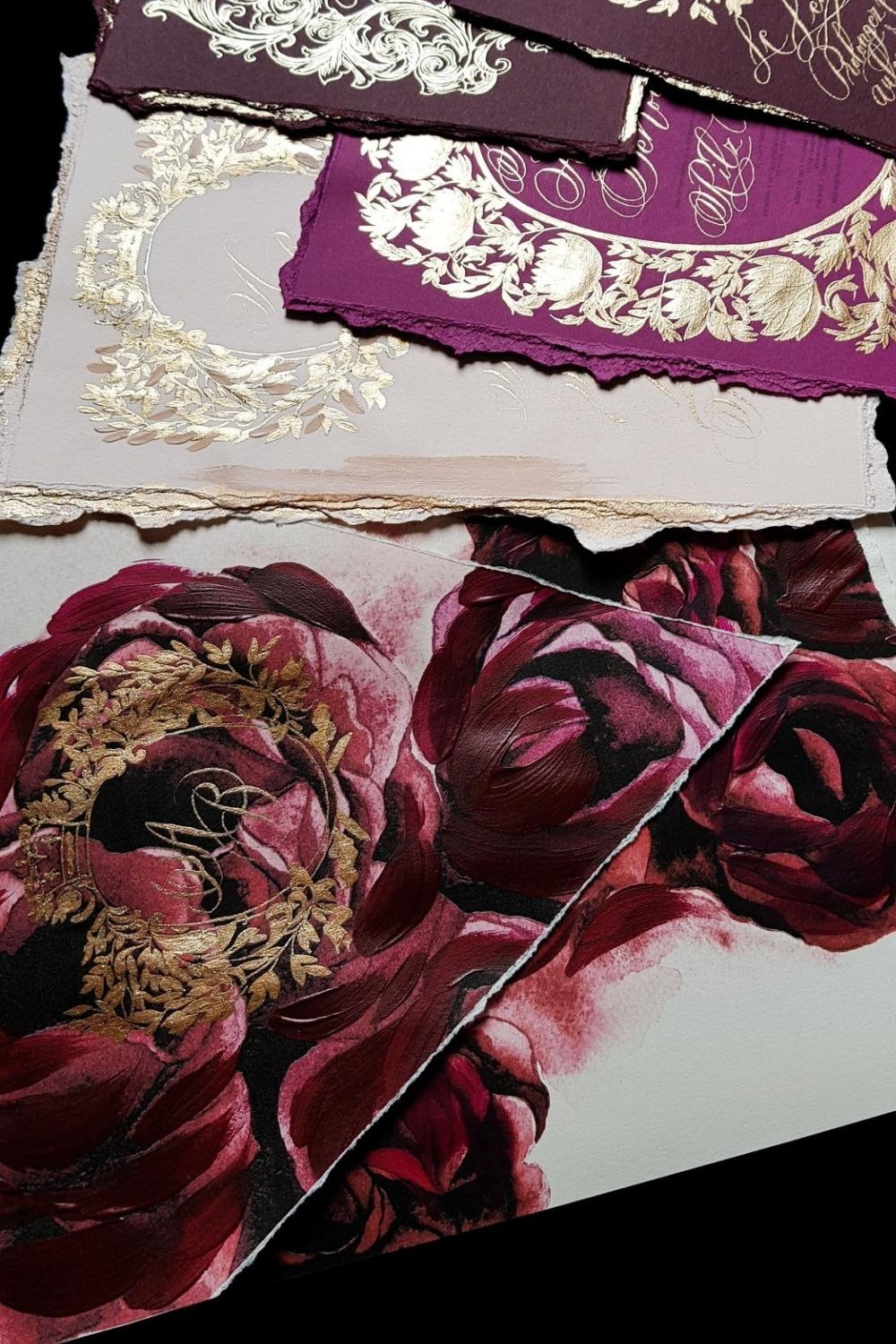 Fine art wedding invitations for a dramatic, bold, high-end red, pink and gold wedding in Paris