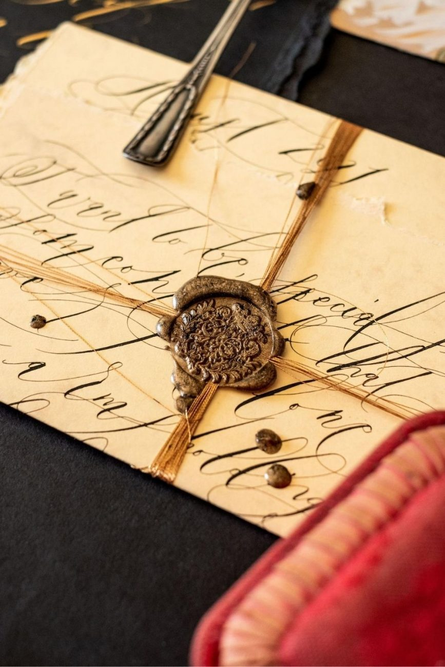 Fine art wedding stationery , Venice inspired wedding love letter with black calligraphy a wax seal and gold thread