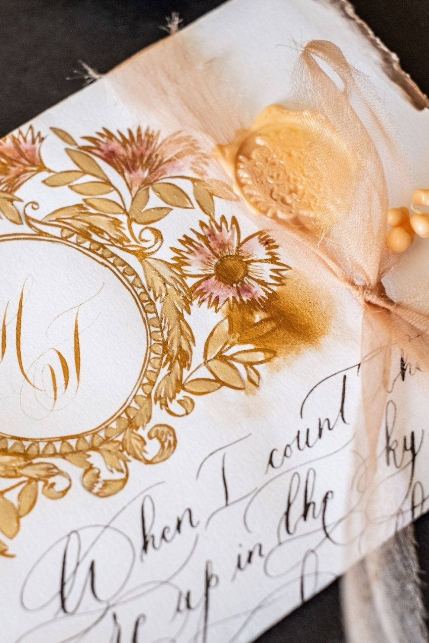 Gold calligraphy old world European love letter for a wedding in Venice