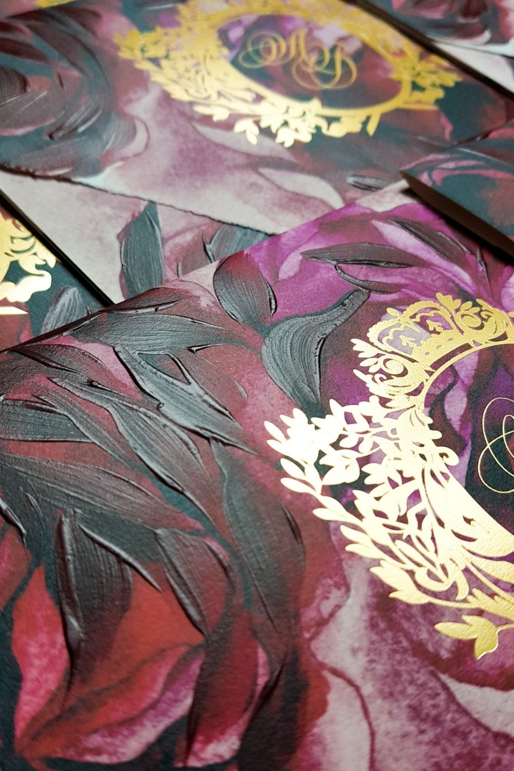 Hand painted red floral wedding invitations suite for a small micro destination wedding