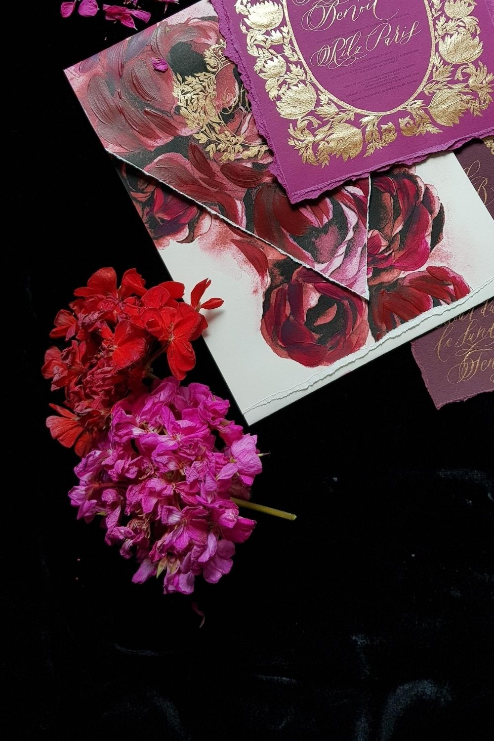 Red and deep pink wedding stationery for a beautiful wedding in Paris