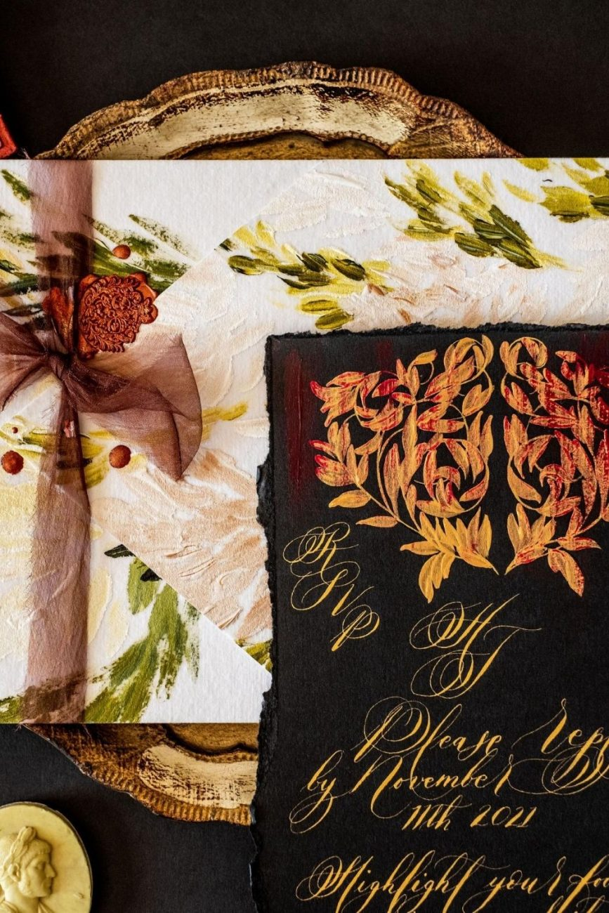 Venice Wedding Invitations with luxurious hand painted details