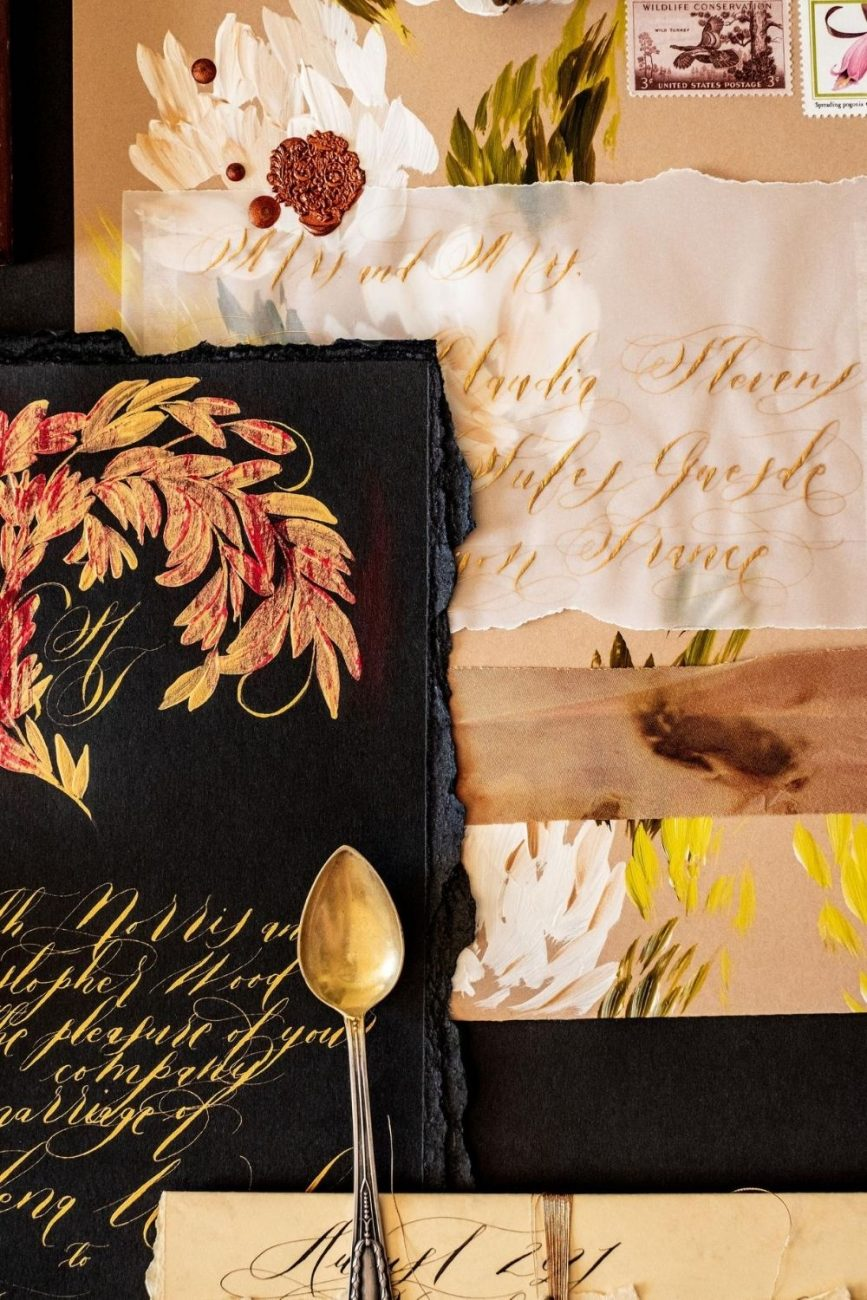Venice Wedding black tie Invitations with custom made luxurious hand painted details