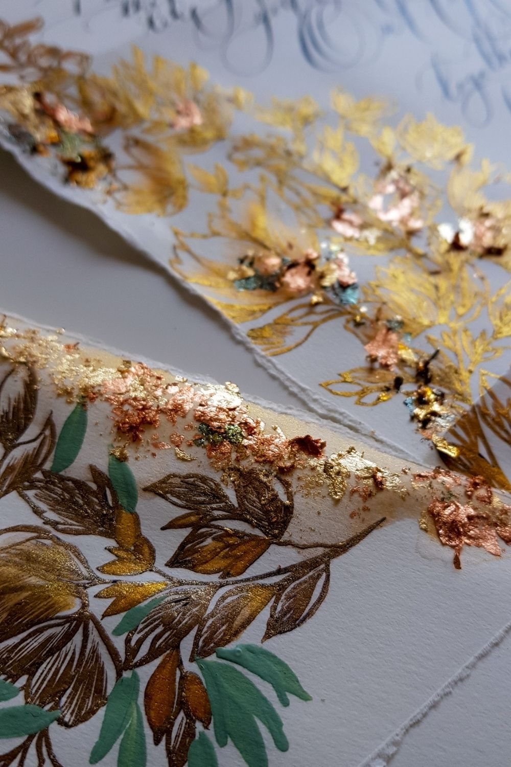 Fine art wedding stationery with elegant Italian gold floral illustrations