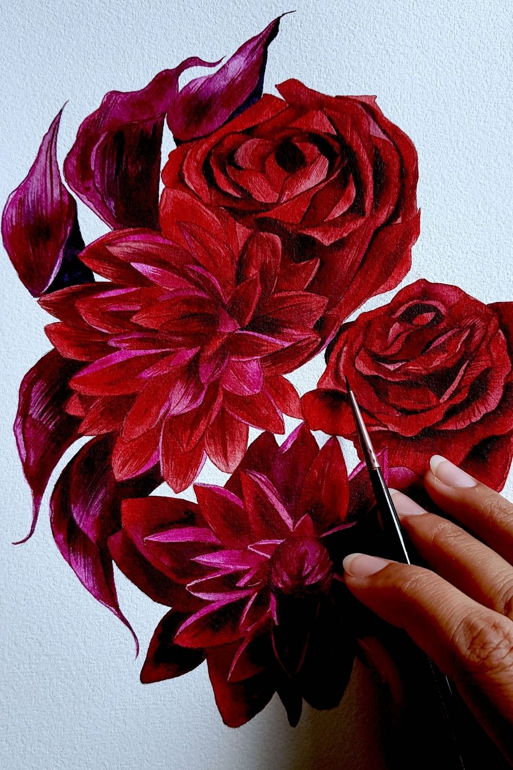 Custom designed artwork featuring detailed flower painting with deep rich red roses and dahlias for a private, luxury destination wedding in France