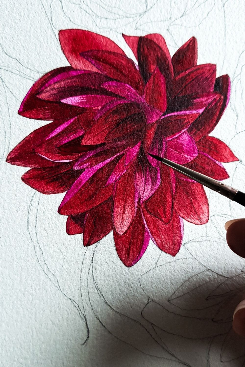 Dahlia Flower Painting With Watercolours Crimson Letters