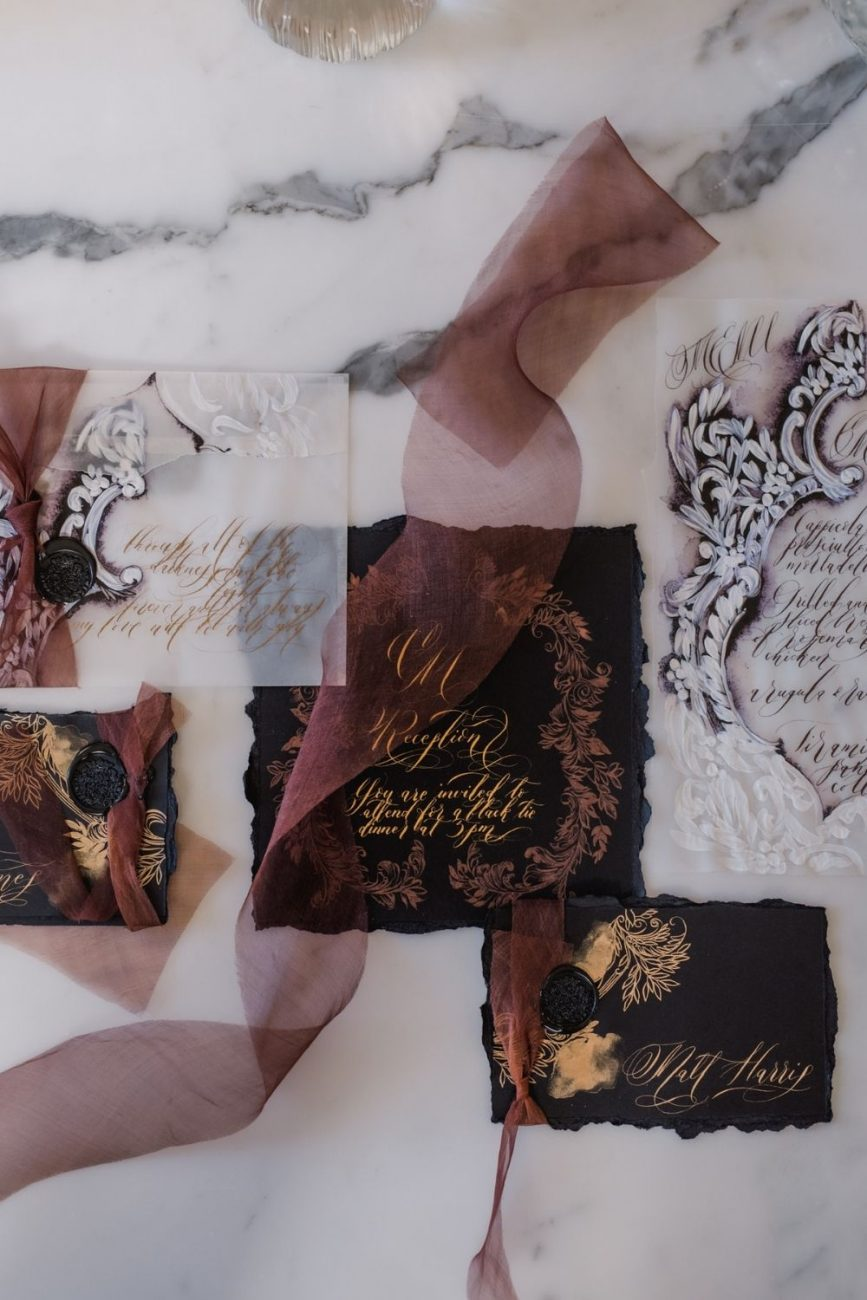 Dark and moody, black and gold, classical wedding stationery for a destination wedding in Italy