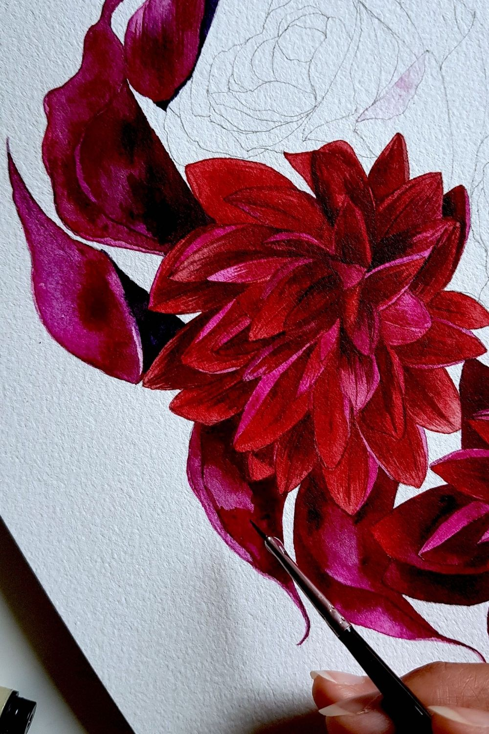 Detailed watercolour painting of red dahlias and roses for a fine art luxury wedding in France