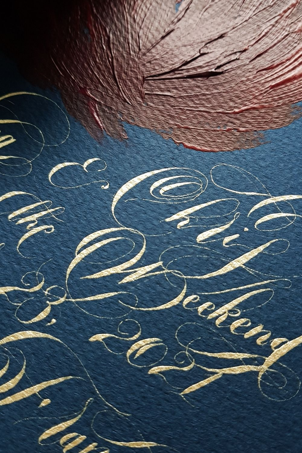 Light gold calligraphy for special events and custom wedding invitations