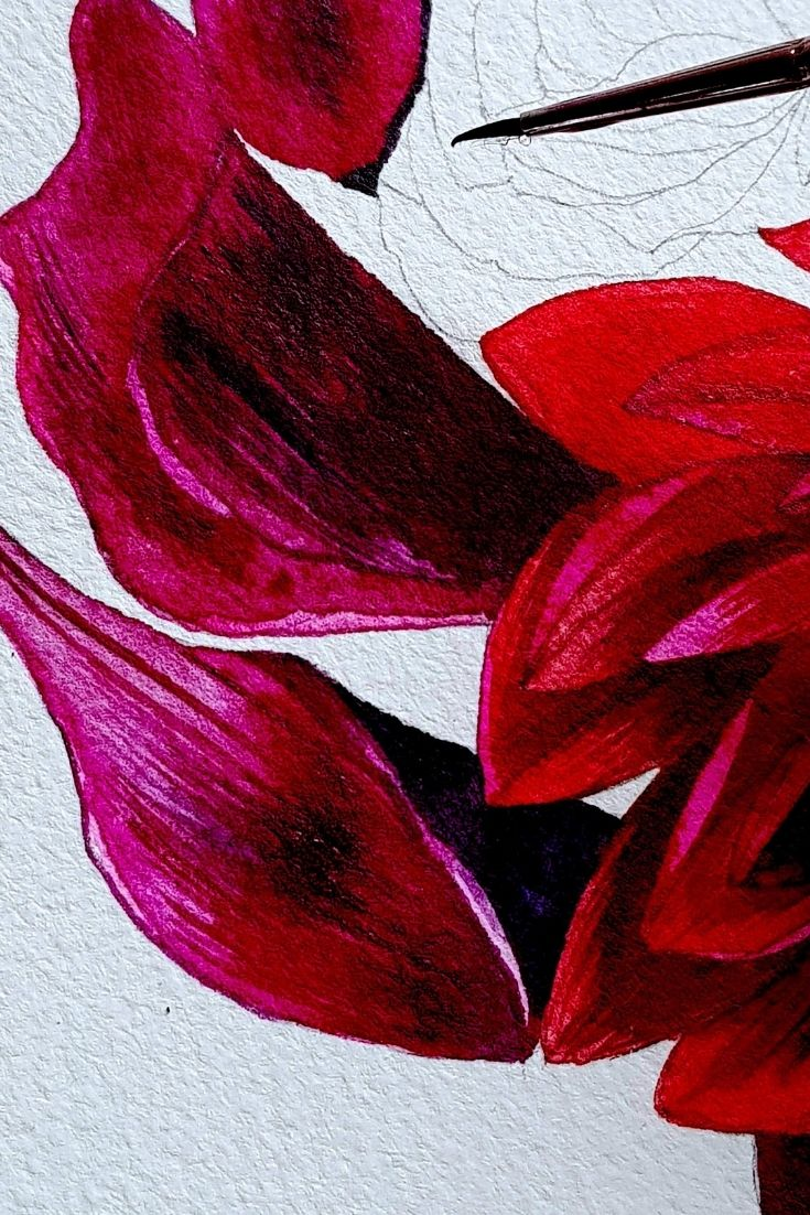 Red floral watercolour painting
