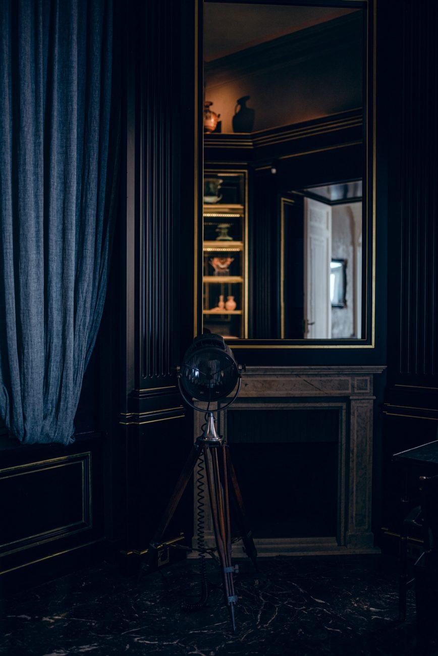 Villa Astor wedding venue in Sorrento, Italy with dark and moody themed interiors