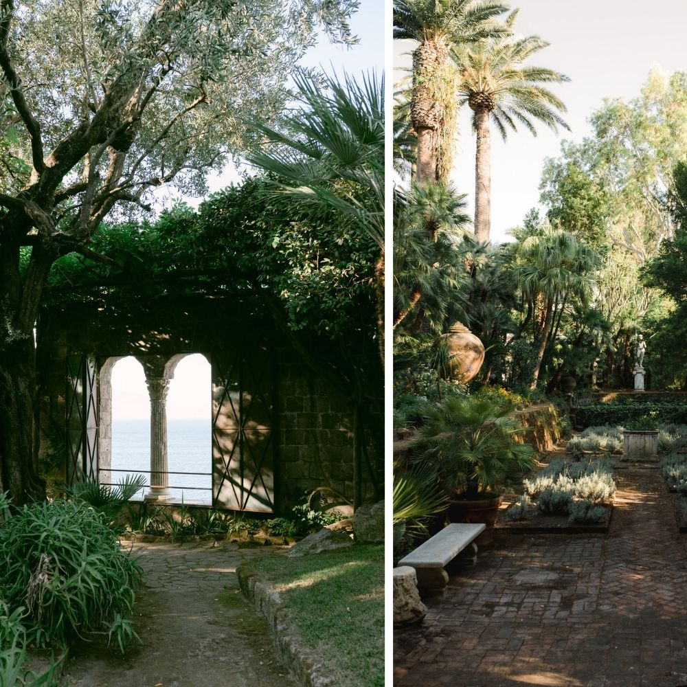 Villa Astor wedding venue in Sorrento for a fine art destination wedding, with lush green gardens overlooking the sea
