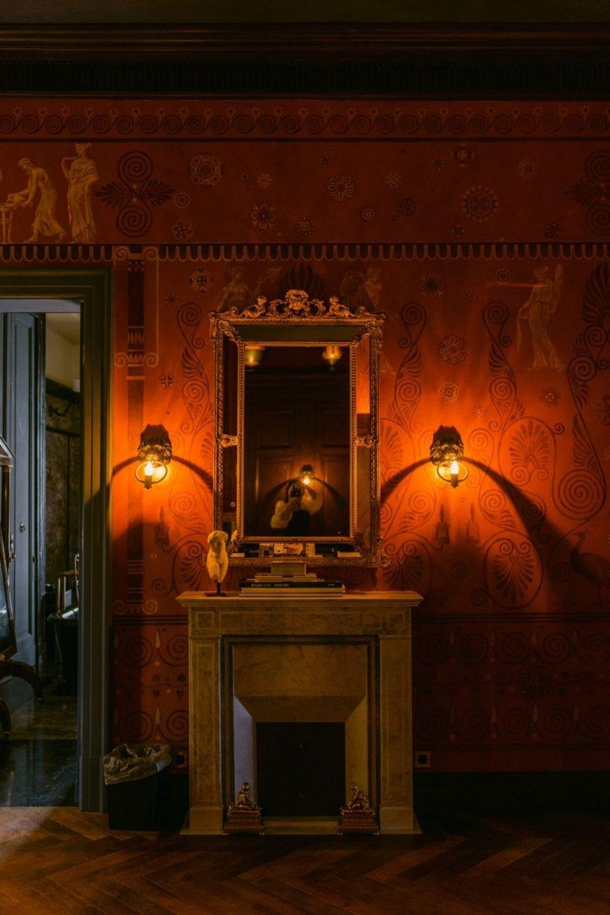 Villa Astor wedding venue in Sorrento with dark and moody baroque interiors for a classical destination wedding in Italy