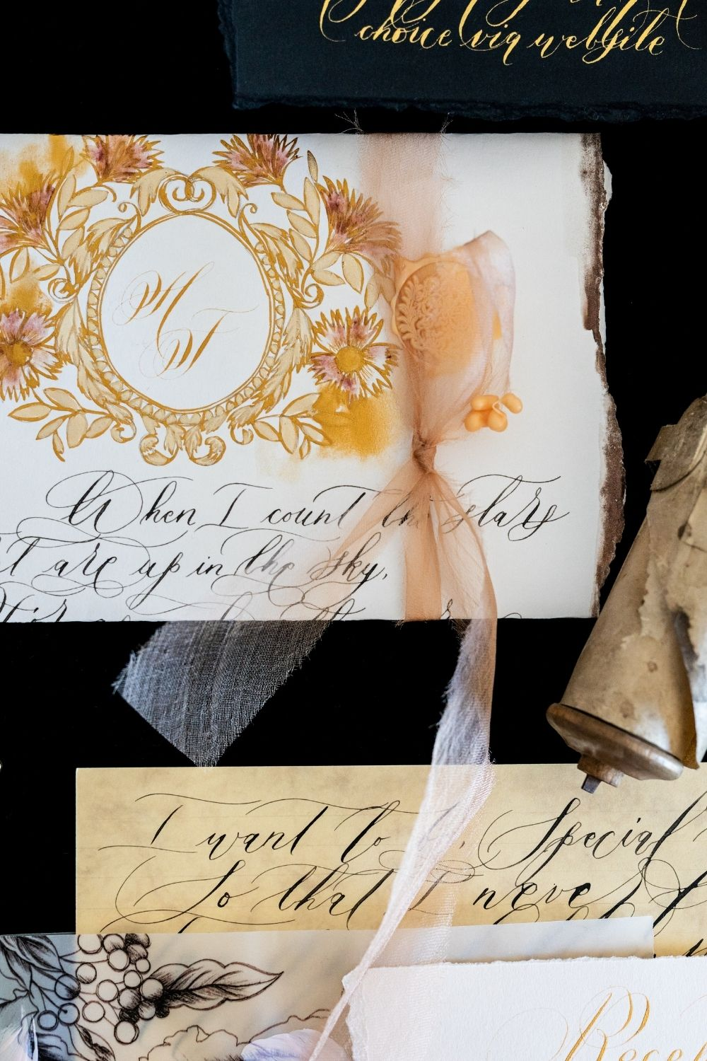 Wedding invitations with handwritten lettering and calligraphy