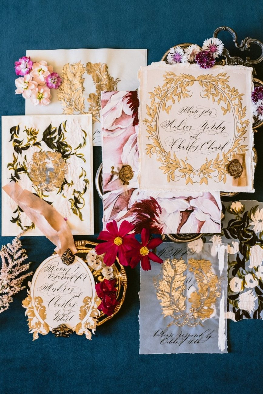 Classical and luxurious, fine art wedding stationery with baroque style design for a Lake Como destination wedding
