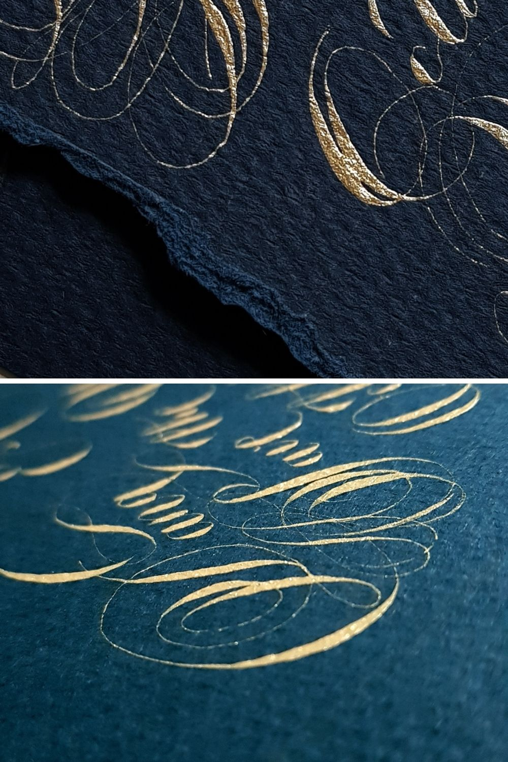 Fine art wedding invitations with deep cobalt blue with gold calligraphy for a small destination wedding in France