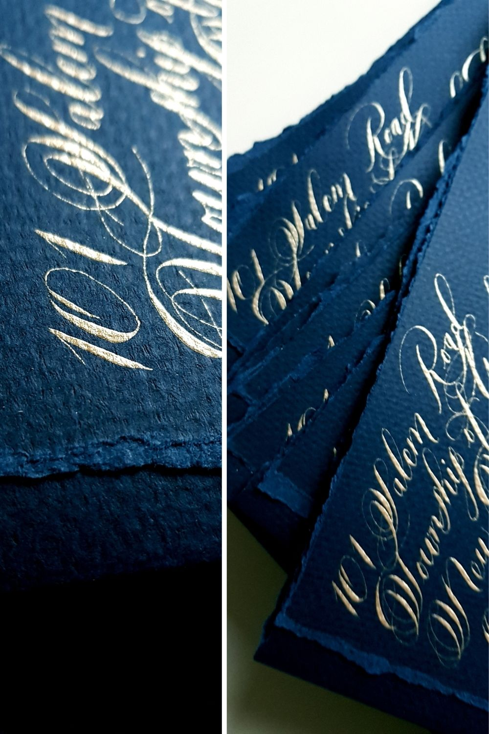 Fine art wedding invitations with navy blue and gold calligraphy